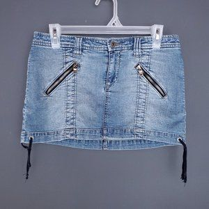 GUESS Mini Skirt Denim Y2K Retro Stretch Zippers
